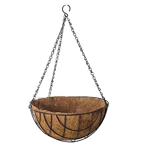 Acan Gerimport - Macetero Colgante de Coco y Metal, diámetro 30 cm. Cesta, Maceta Colgante con Cadena y Gancho, decoración hogar, terraza, balcón, Patio, jardín (Marrón)