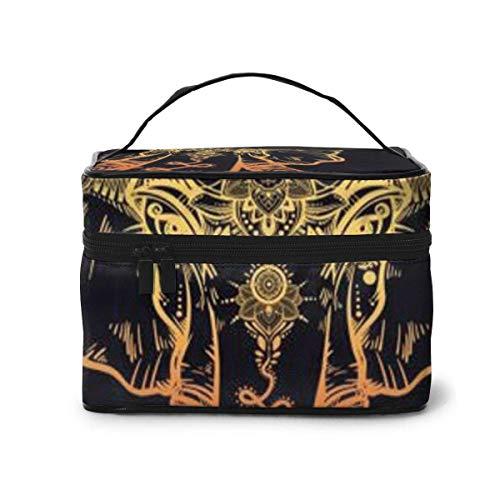 The Golden Elephant Travel Makeup Train Case Makeup Cosmetic Case Organizer Portable Artist Storage Bag