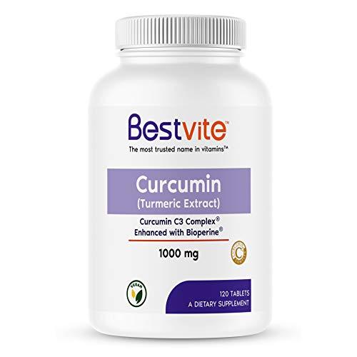 Curcumin 1000mg (Turmeric)(120 Tablets) Made with Curcumin C3 Complex & Bioperine - Standardized to 95% Curcuminoids - Vegan