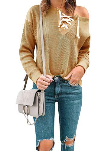 Ajpguot Damen Langarm V-Ausschnitt Schnürung Top Pulli Casual Sport Sweatshirt Jumper Mode Pullover Einfarbig Stricken Oberteile (S, Lngwer gelb)