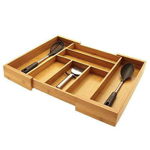 Woodquail Verstellbare Schubladen-Einsätze Besteckkasten, Organizer für Besteck, Küchenschubladen Organizer, aus Bambus (7 Fächer)