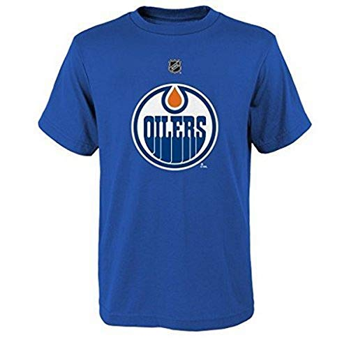 NHL Edmonton Oilers Boys 8-20 Name and Number Tee, Blue, Medium