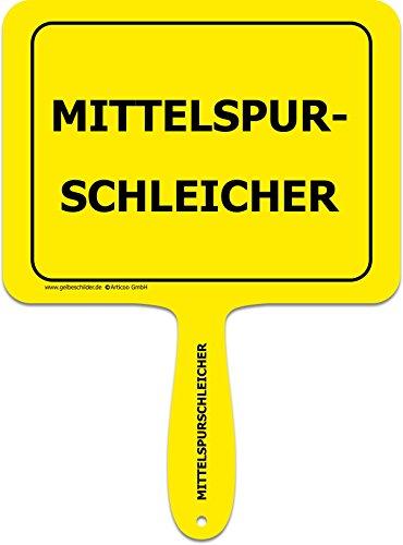 ARTICOO Mittelspurschleicher - Spruch Schild für's Auto | Lustiges Provokantes Funschild als Ergänzung für Autoaufkleber | Autoscheibe ADAC Rechtsfahrgebot