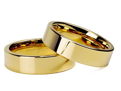 Par Alianças Banhada Ouro18k Reta 6mm Tungstênio Tamanho:6mm;Cor:Dourado