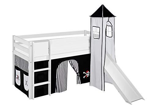 Lilokids Spielbett JELLE 90 x 190 cm Pirat Schwarz Weiß - Hochbett weiß - mit Turm, Rutsche und Vorhang