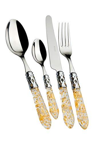 Bugatti, Aladdin, Ensemble de 24 Couverts en Acier Inoxydable 18/10, Anneau chromé et Manche en Paille dorée. Set de Couverts 6 Personnes: 6 cuillères, 6 fourchettes, 6 Couteaux et 6 cuillères à café