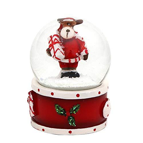 Dekohelden24 Mini-Schneekugel mit Elch, roter Sockel, Maße L/B/H: 4,5 x 3,5 x 3,5 cm Kugel Ø 3,5 cm.