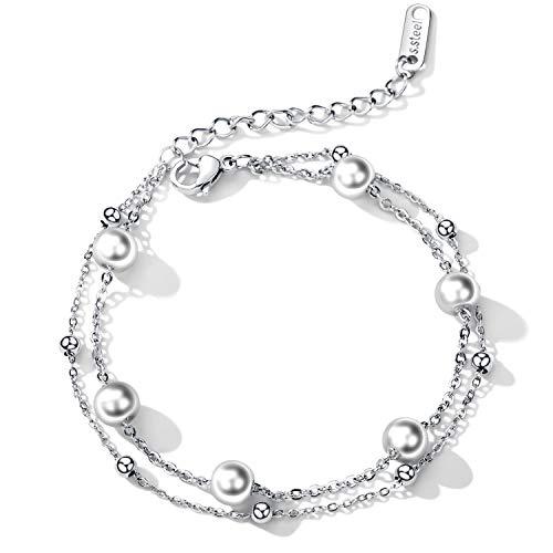 Cupimatch Damen Armband Elegant Armreifen mit Perlen Verstellbar Doppelte Kugel-Ketten Edelstahl Armkettchen, Silber