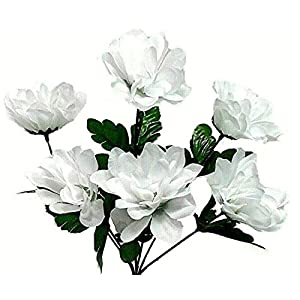 Floral Décor Supplies for 6 Head 3″ Dahlia Artificial Silk Flowers Wedding Bouquet Centerpiece Fake Faux for DIY Flower Arrangement Decorations – Color is White