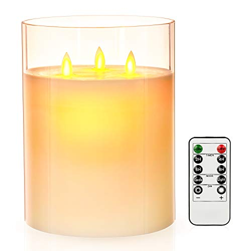 "Aku Tonpa 3-Wick 6"" x 8"" Flameless Candles Battery Operated Pillar Real Wax LED Glass Candle Sets with Remote Control Cycling 24 Hours Timer"