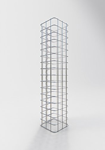GABIONA Säule Steinkorb-Gabione eckig, Maschenweite 5 x 5 cm, Höhe 80 cm, Spiralverschluss, galvanisch verzinkt (17 x 17 cm)