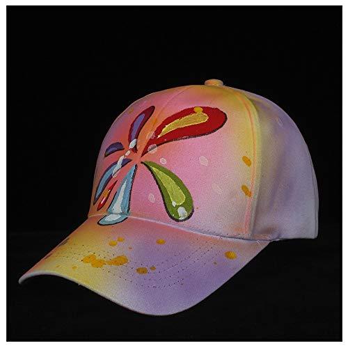 HOUJHUS 100% Algodón Hombres Mujeres Nuevo Sombrero de béisbol Hecho a Mano Sombrero Impreso Sombrero de Hip Hop al Aire Libre Sombrero Informal Tamaño 56-60CM (Color : Rosado, Size : 56-60)