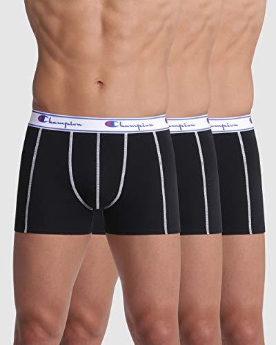 Champion Men's Coton Boxer Shorts, Black (Black 8Mj), Small, (pack of 3)