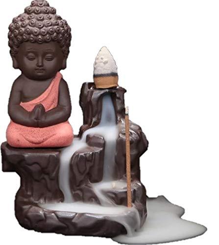 HighQuality standard Buddha Harmonischer Räucherstäbchenhalter mit kleinem Wasserfall als Rückfluss Zimmerbrunnen(Rosa/Terracotta)