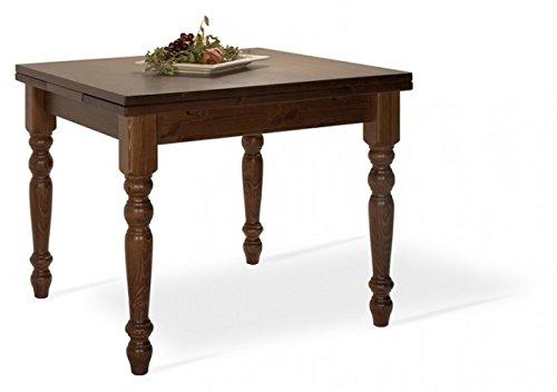 Arredamenti Rustici Table Extensible de réfectoire 90x90 en pin Massif - Brut