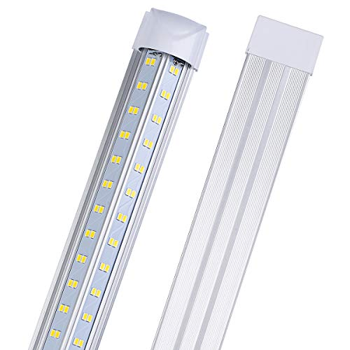 LED Shop Light, 4FT 50W 6500LM 5000K, Daylight White, V Shape 4 Row , Clear Cover, Hight Output, Linkable Shop Lights, T8 LED Tube Lights, LED Shop Lights for Garage 4 Foot with Plug (Pack of 4)