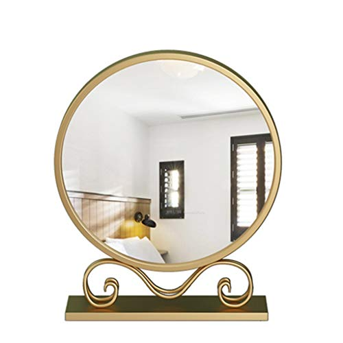 NJYT Miroir de Maquillage Lumineux,Rond Fer En Métal Rétro Miroir de Courtoisie Finition Base de Stockage pour Le Maquillage de Table (taille : 50 cm)