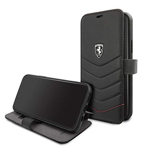 CG Mobile Ferrari - Cartera para iPhone 11 Pro (piel auténtica, cierre magnético, tarjetero y tarjetero de identificación, color negro