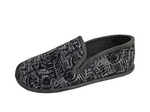 Zapatillas de Estar por casa/Hombre/Biorelax/Cerradas de Talón/Color Gris Estampado/Empeine Suapel/Cámara de Aire/Talón Acolchado/Suela Goma/Talla 45