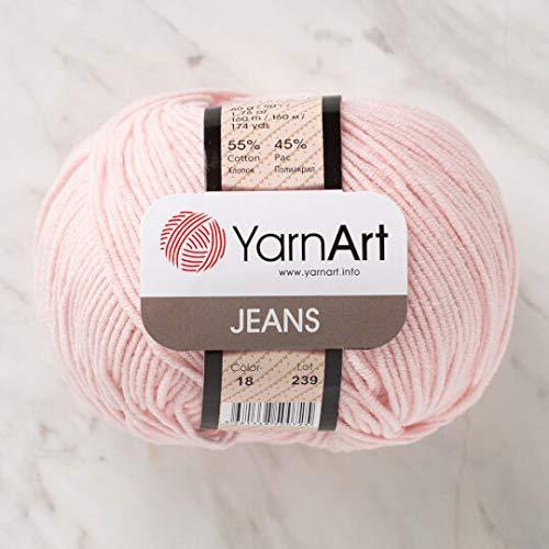 5 Knäuel (Knäuel) YarnArt Jeans Garn, 55% Baumwolle 45% Polyacryl, 50 g (1,76 oz), 160 m (174 yds), Garngewicht 2: Fine-Sport, Pink - 18