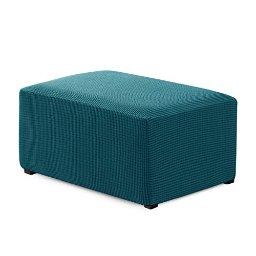 Hokway Ottoman Slipcover Oversized Stretch Fabric Footrest Cover Footstool Protector(Teal)