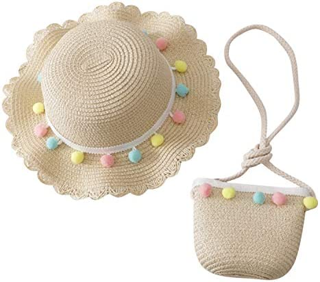 Toddler Baby Girls Wide Brim Straw Sun Hat with Shoulder Bag Set Cute Pompom Beach Cap product image