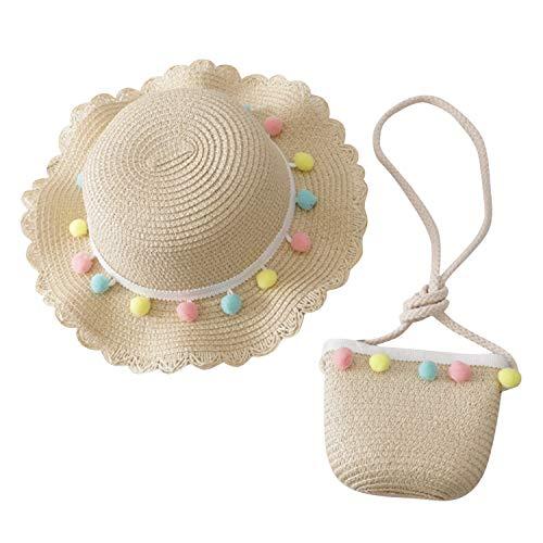 De feuilles Chapeau de Soleil Filles Chapeaux de Paille Enfant Sac à Main Bonnet de Soleil Fillette Anti-UV Pliable pour Plage Voyage Randonée d'été (3-6 Ans, Beige)