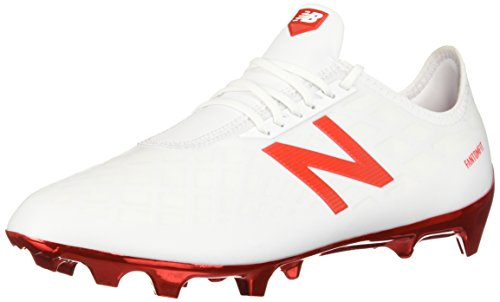 New Balance Men's Furon 4.0 Pro Firm Ground Soccer Shoe, White/Flame Orange, 10.5 D US