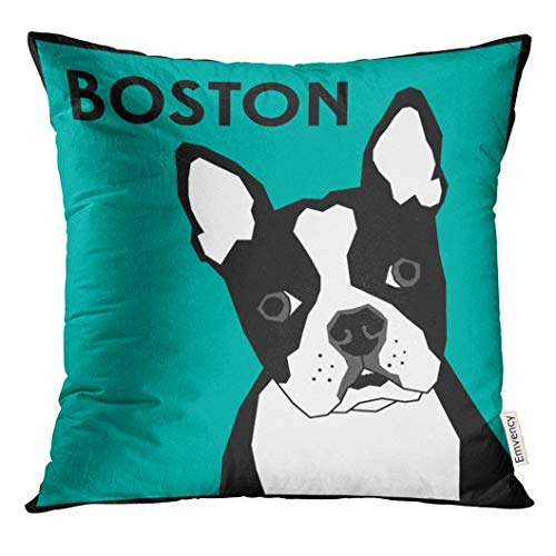 UPOOS Throw Pillow Cover Black French Boston Terrier White Bulldog Face Decorative Pillow Case Home Decor Square 20x20 Inches Pillowcase