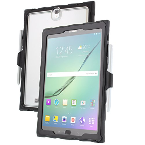 Gumdrop Droptech Clear Case with S Pen Slot for Samsung Galaxy Tab S3 Tablet for Business and Office Essentials - Black, Shock Absorbing, Extreme Drop Protection
