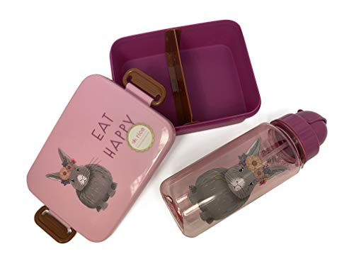 Rice Kinder SET Lunchbox mit Einteilung und Trinkflasche 500ml mit Tiermuster Pink