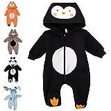 Baby Sweets Baby Tier Strampler Unisex schwarz im Motiv: Pinguin/Baby-Overall als Tierstrampler mit Kapuze für Neugeborene & Kleinkinder in der Größe Newborn (56)