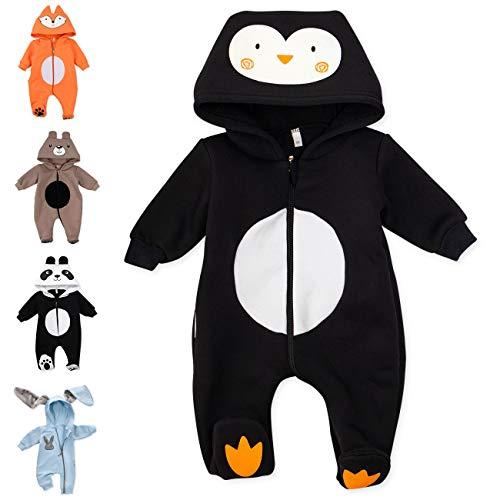 Baby Sweets Baby Tier Strampler Unisex schwarz im Motiv: Pinguin/Baby-Overall als Tierstrampler mit Kapuze für Neugeborene & Kleinkinder in der Größe 3-6 Monate (68)