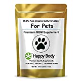 HAPPY BODY 99.9% Pure Organic Sulfur for Pets, Additive-Free MSM for Dogs and Cats - 7oz Pack