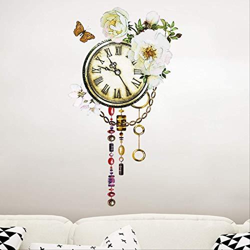 DQGZYF Reloj Acuarela Pegatinas de Pared Decorativas PVC Mural Artista decoración del hogar TV sofá Pared calcomanía 58 * 34 cm