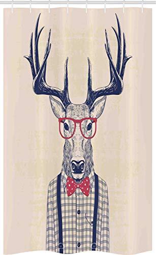 ABAKUHAUS Hipster Schmaler Duschvorhang, Humorvoll Deer mit Jazz-Bogen, Badezimmer Deko Set aus Stoff mit Haken, 120 x 180 cm, Indigo Dunkle Koralle & Champagne
