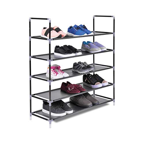 The Hanger Store 5 Tier Shelf Shoe Storage Rack Organiser Stand in Black for 25 pairs of shoes. 88 x 30 x...