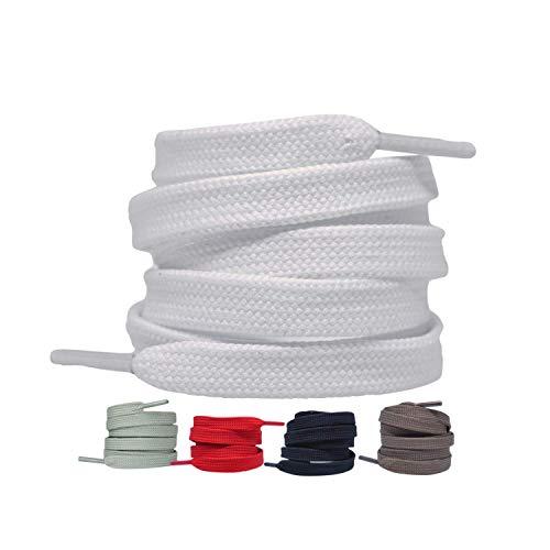 Flache Schnürsenkel [2 Paar] Premium reißfeste Schuhbänder [10 mm breit ] Ersatz Shoelaces aus Polyester für Sneakers, Sportschuhe, Laufschuhe, Turnschuhe (Weiß, 150)