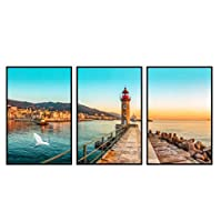 LIUYUEKAI 美しい沿岸都市の風景日没夕暮れの架台灯台ポスターキャンバス絵画リビングルームホームアートモダンな装飾-40x60cmx3フレームなし