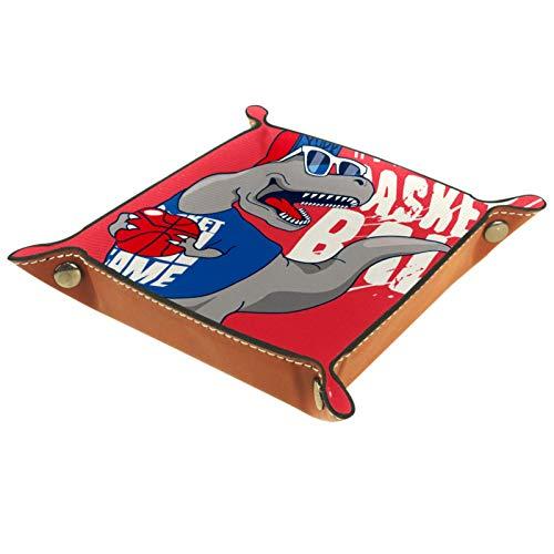 ATOMO Bandeja de almacenamiento de cuero con diseño de dinosaurios para jugar al baloncesto, llaves, monedas, organizador de mesita de noche