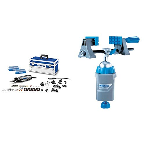 Dremel 4300-9/64 Rotary Tool Kit with Flex Shaft- 9 Attachments & 64 Accessories- Engraver, Router, Sander, and Polisher & 2500-01 Rotary Tool Multi-Vise