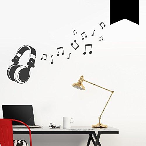 Wandkings Wandtattoo Kopfhörer mit 11 Musiknoten 50 x 31 cm schwarz - erhältlich in 33 Farben