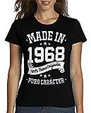 latostadora - Camiseta Made In 1968 para Mujer Negro L