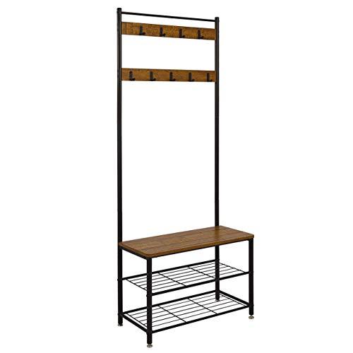 Meerveil Coat Rack, Shoe Rack, Coat Rack Stand, Clothes Rack, Shoe Storage Bench with 9 Hooks, Metal Hall Tree, Metal Frame for Bedroom, Living, Room Hallway (Brown)