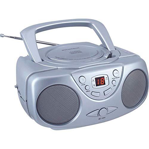 Sylvania SRCD243 Portable CD Player with AM FM Radio, Boombox (Silver) (Renewed)