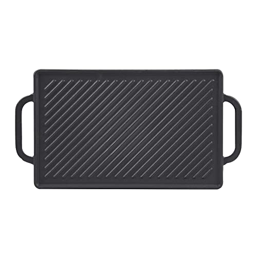 GGC Cast Iron Reversible Grill Griddle,Double Sided Grill Pan Perfect for Gas Grills and Stove Tops, 13 x 8.25 Rectangular Baking Flat and Ribbed Griddle Plate