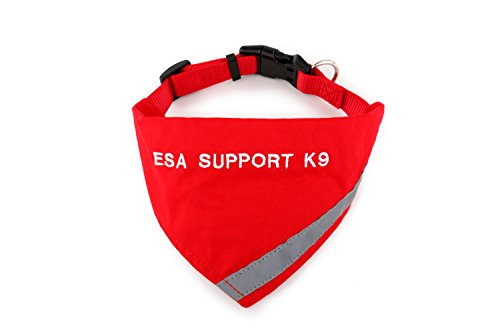 Register My Service Animal, LLC Bandana Embroidered with ESA Support K-9' | Reflective Strip for pet Safety | Built in Matching Collar to Keep Bandana Secure | Metal Ring to Attach Leash | Red | XS