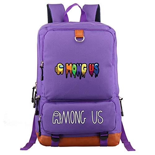 YUEFF Mochila escolar para niños con diseño de jugador, para deportes entre nosotros, color negro, mochila para ordenador portátil, mochila para niños con dibujos animados, color violeta 2