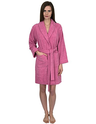 TowelSelections Women's Robe, Turkish Cotton Short Terry Bathrobe X-Small Cashmere Rose