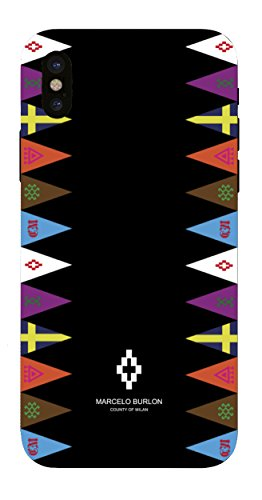 MARCELO BURLON County of Milan Cover/Custodia Compatibile con iPhone XS/X - MOD. Flags Side Custodia Burlon Originale - Rigida - Finitura Soft Touch - Protezione Frontale rialzata